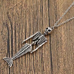 Halloween Mermaid Skeleton Necklace